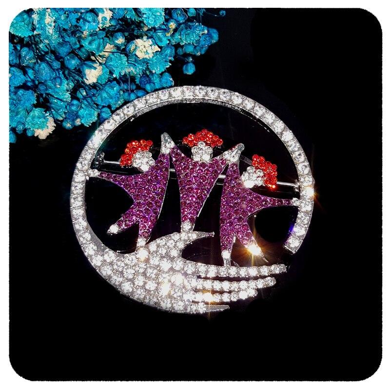 GRANDBLING Nova Chegada Blingbling Jóias Pin Broche de Cristal Círculo de amigos Amizade Presente Original para Os Seus Amigos