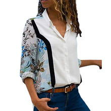 купить Women Casual Blue White Flower Print Long Sleeve Blouse Shirt Turn-down Collar Regular blusas Summer Chiffon Shirts Plus Size дешево