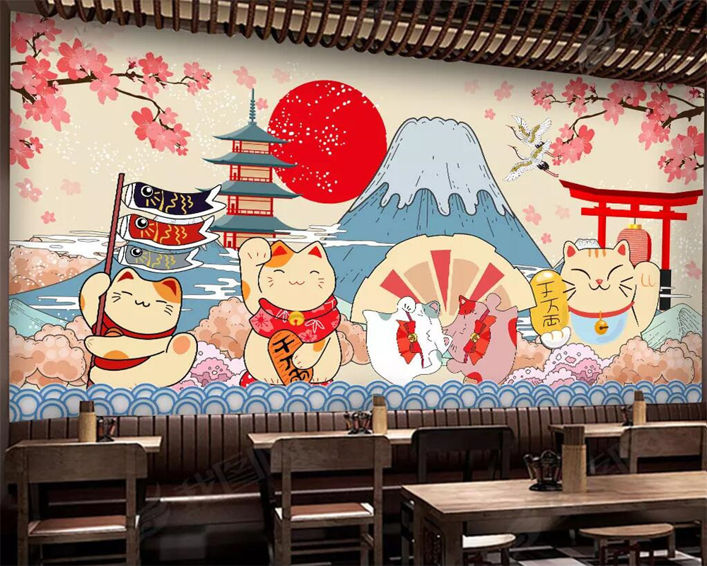 US $8.85 41% OFFBeibehang Wallpaper Kustom Gaya Jepang Fujiyama Kartun  Mural Makanan Jepang Restoran Sushi Latar Belakang Dinding 3D Wallpaper-in
