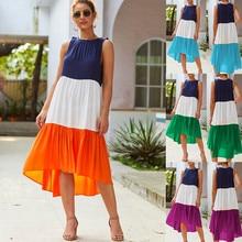 Vestidos Long Dress Women Summer Casual Patchwork Sleeveless Crew Neck Linen Dresses Femininos