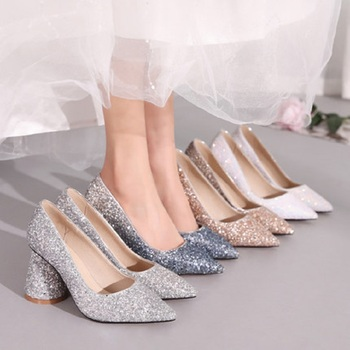 2019 new sequins pointed crystal princess shoes banquet dress high heels female thick with single shoes