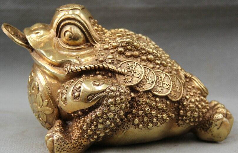 Ev ve Bahçe'ten Statü ve Heykelleri'de JP S0524 8 Çin Çin Pirinç Halk hayvan Altın Toad Spittor para Heykeli Feng Shui title=