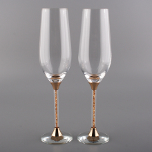 1pair unique new skull beer gold color stem crystal champagne flutes 235ml drinking cups crystals rhinestone for party wedding - Crystal Champagne Flutes