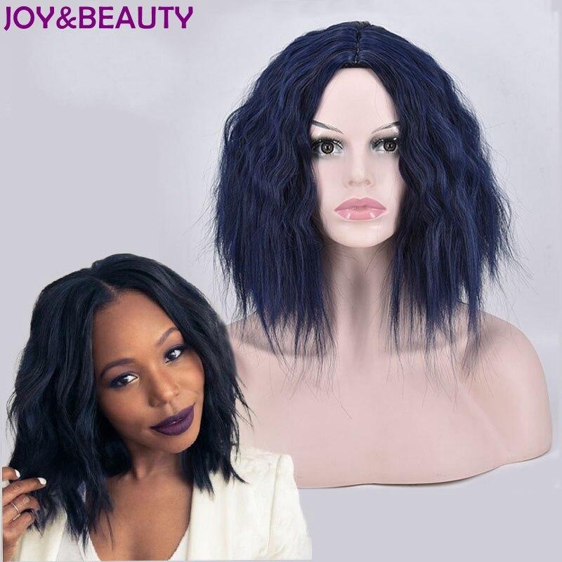 JOY&BEAUTY Short Body Wave Synthetic hair Wig High Temperature Fiber Dark blue 14inch For Black Women