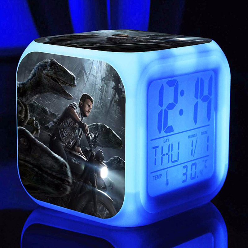 3d Film Jurassic Park Alarm Clocks,Color changing Dinosaur Tyrannosaurus Alarm Clocks For kids gift Multifunction alarm clocks