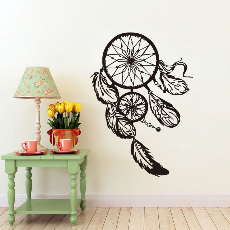 dreamcatcher vinyl wall stickers indian symbol feathers wall decals home decor design artistic wallpaper removable mural - Artistic Wall Design