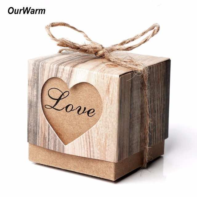 Ourwarm 100pcs Candy Box Wedding Gift For Guests Paperboard Gifts Bags With Burlap Twine Vintage