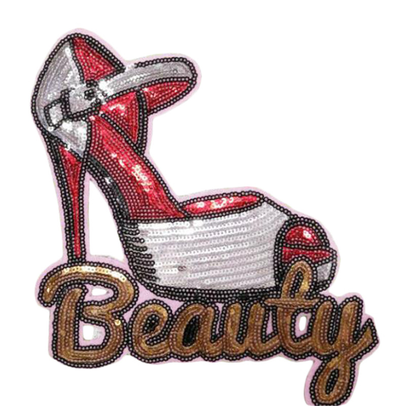 21cm high-heeled shoe diy patch deal with it clothes iron on patches for clothing t shirt stickers girl/mens halloween christmas