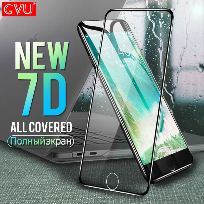 GVU 7D מלא כיסוי מזג זכוכית על עבור iPhone 6 6 s בתוספת 7 8 מסך מגן עבור iPhone 8 7 בתוספת 6 6 s מגן זכוכית סרט