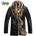 M-5XL Invierno nuevo cuello de piel de zorro Genuina ropa de cuero hombres de la marca abajo de la capa más el tamaño de piel de oveja prendas de vestir exteriores de la chaqueta de cuero 1200
