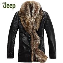 M-5XL Winter new Genuine leather clothing men's brand fox fur collar down coat plus size sheepskin outerwear leather jacket 1200
