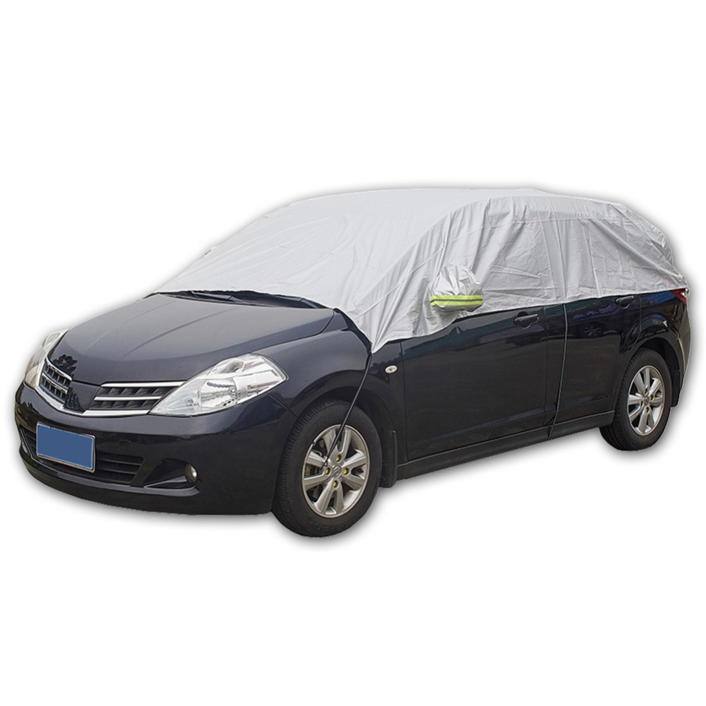 Half Car Cover Sun UV Snow Dust Rain Resistant Durable Covers 3.2Mx1.75M Automobile Accessories For Car Care(China)