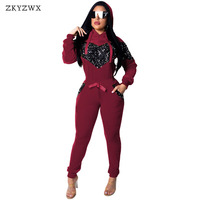 ZKYZWX Sequined Tracksuit Women Outfits Velvet 2 Two Piece Set Tops+Pants Sweat Suit Spring Casual Velour 2 Pieces Matching Sets
