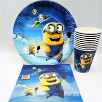 40pcs Lot Minions Party Supplies Birthday Party Cup Plate Napkin Party Decoration Disposable Tableware Kids Birthday