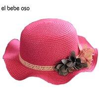 Big Baby Rippled Edge Girls Summer Bowknot Sun Straw Hat Children Hats Girls Beach Hat Flower