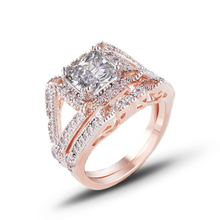 купить 2019 new fashion 2 PCS AAA Cubic Zirconia Love Style rose Gold Color His And Hers Promise Engagement Wedding Ring Sets J02754 дешево