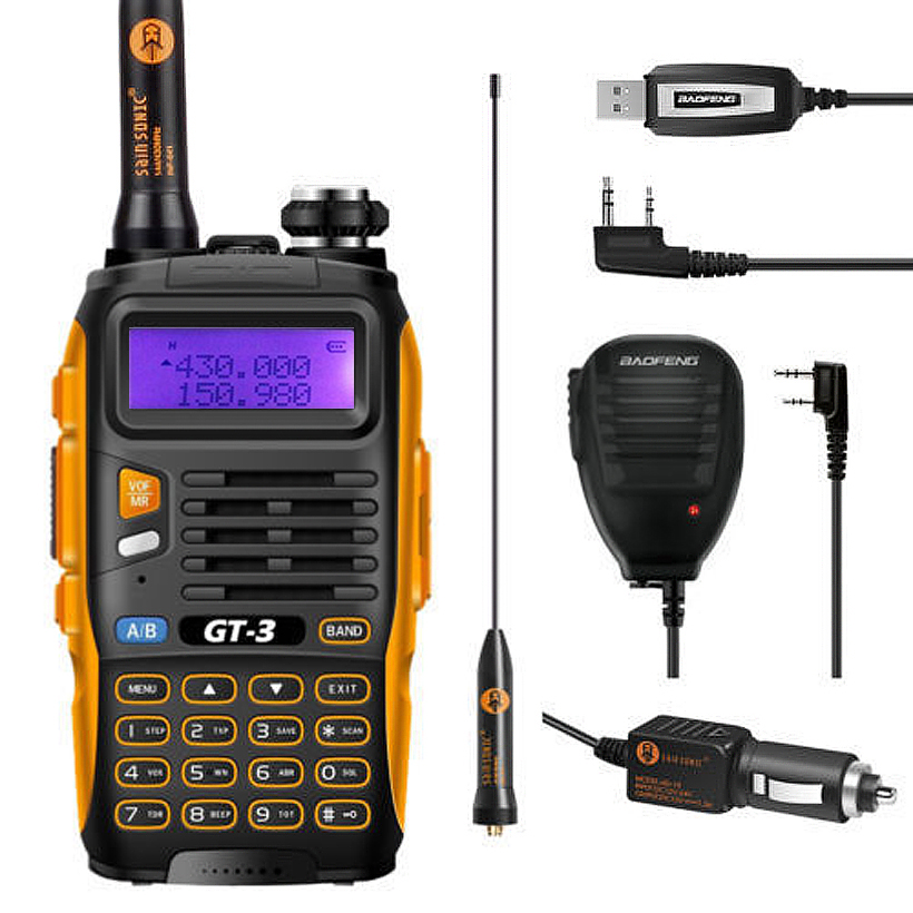Baofeng GT-3 Mark II VHF UHF 136-174/400-520 MHz Dual-Band FM Ham Two Way Radio Walkie Talkie Programming Cable Remote Speaker