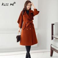 2018 Women Autumn Winter Manteau Femme Office Lady Retro Long Coat Female Robe Outerwear Belted Army Green Coffee Beige Red New