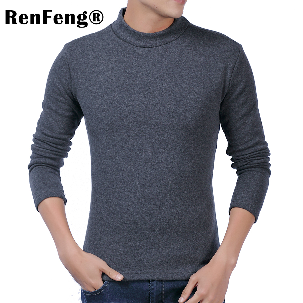 Men Long sleeves cotton t shirt autumn high neck casual fashion clothing Slim fit elasticity male Fitness tees tops Under shirt (6)