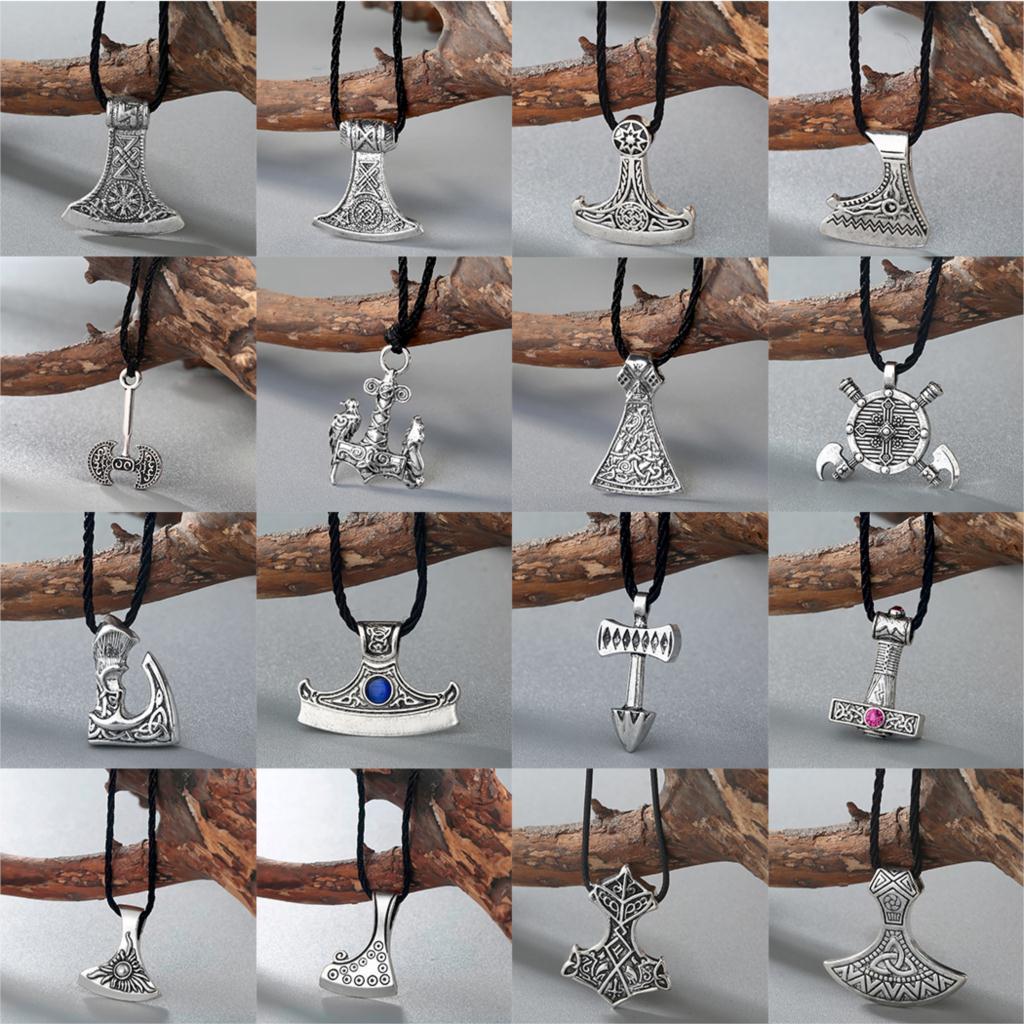 Cxwind Nordic Vikings Thor Necklace The Fehu Feoh Fe Rune Axe Amulet Compass Runes pendant Scandinavian Charm Necklaces Bijoux