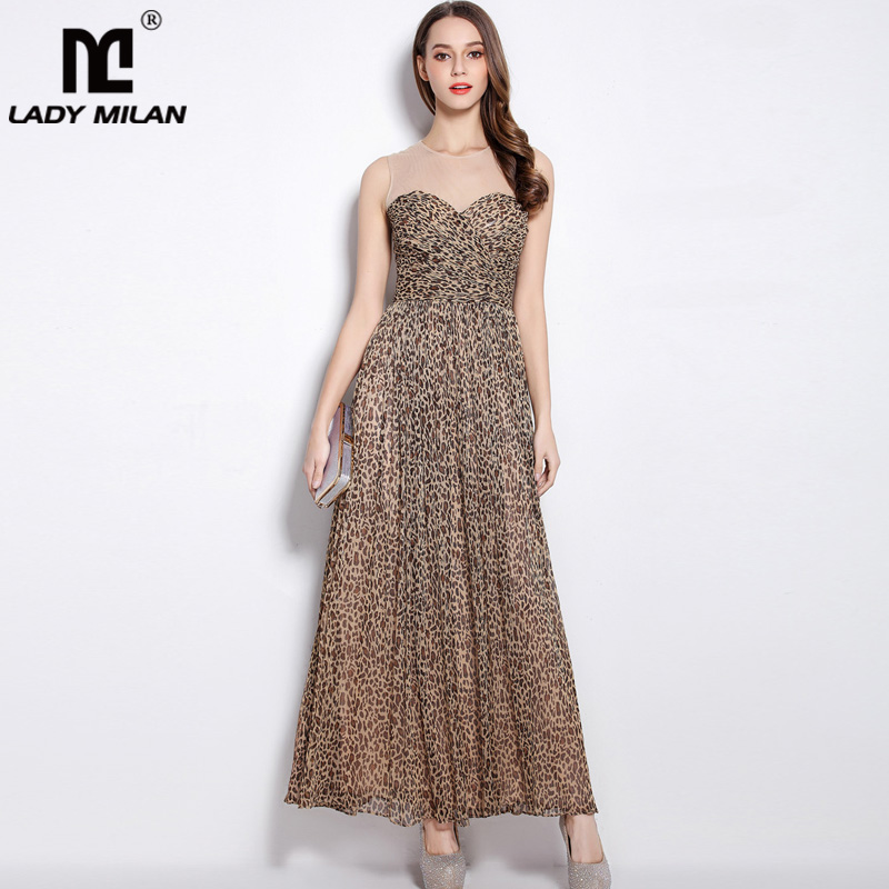 Womens O Neck Sleeveless Ruched Bodice Leopard Printed A Line High Street Fashion Dress Sexy Tulle Laid Over Long Beach Dress