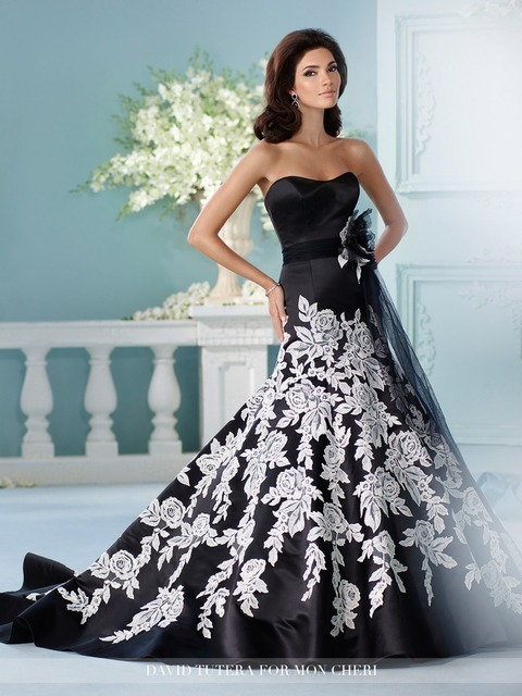 Vestido De Noiva 2017 China Bridal Gowns Black And White Wedding ...
