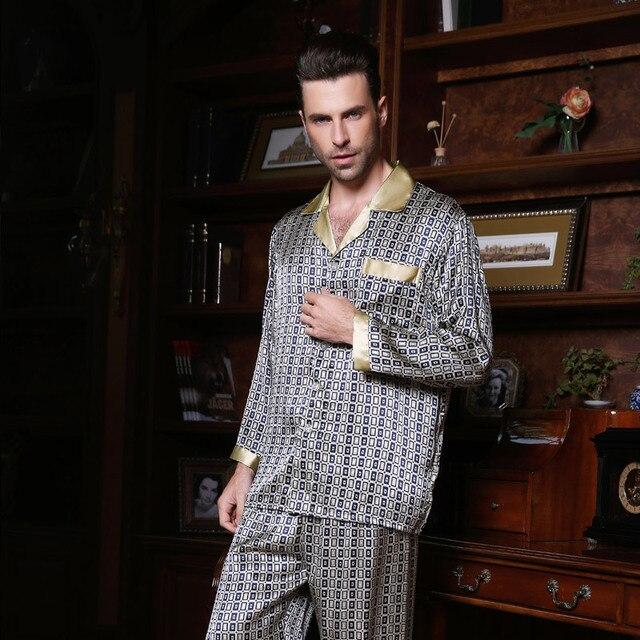 YIER Marca Hombre Pijamas de Seda 100% de Los Hombres Pantalones Ropa de Dormir de Manga Larga pijama Establece YF2631