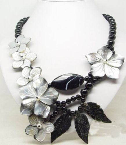 New Genuine Black Agates shell Flower wedding Party Ball Gift necklaces