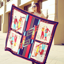 The spring and summer of 2016 new high-end silk shawl twill silk scarves DF06 female ski lovers