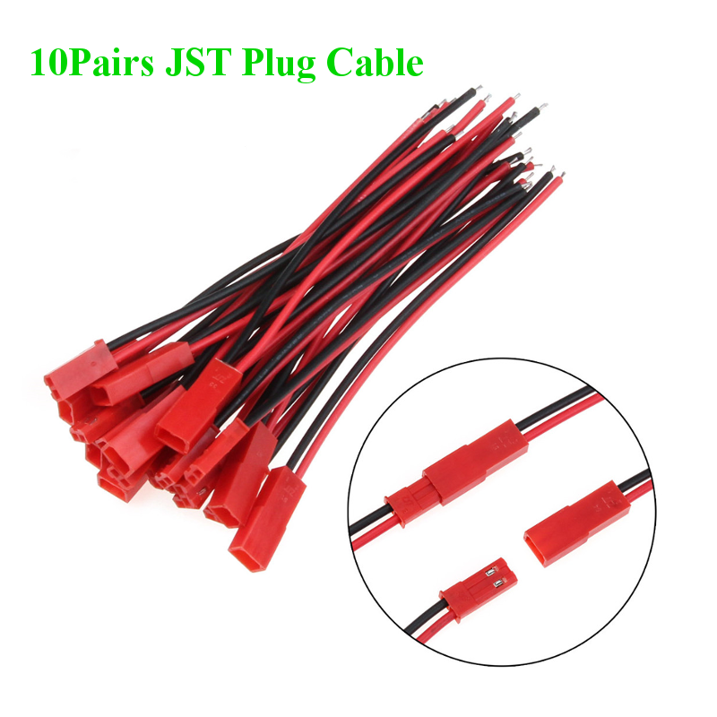 10Pairs 20PCS 100/150/200mm 2 Pin Connector JST Plug Cable Male/Female For RC BEC Lipo Battery Helicopter FPV Drone Quadcopter