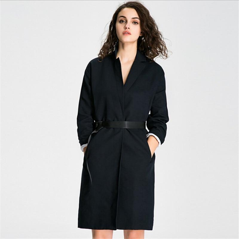Estilo europeo de las mujeres de color sólido Trencas Abrigos botón  cubierto con cintura ajustable largo Trencas femenino a2776 adf71aa203a9