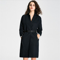 European Style Women Solid Color Trench Coats Covered Button With Adjustable Waist Long Trench Coat Female