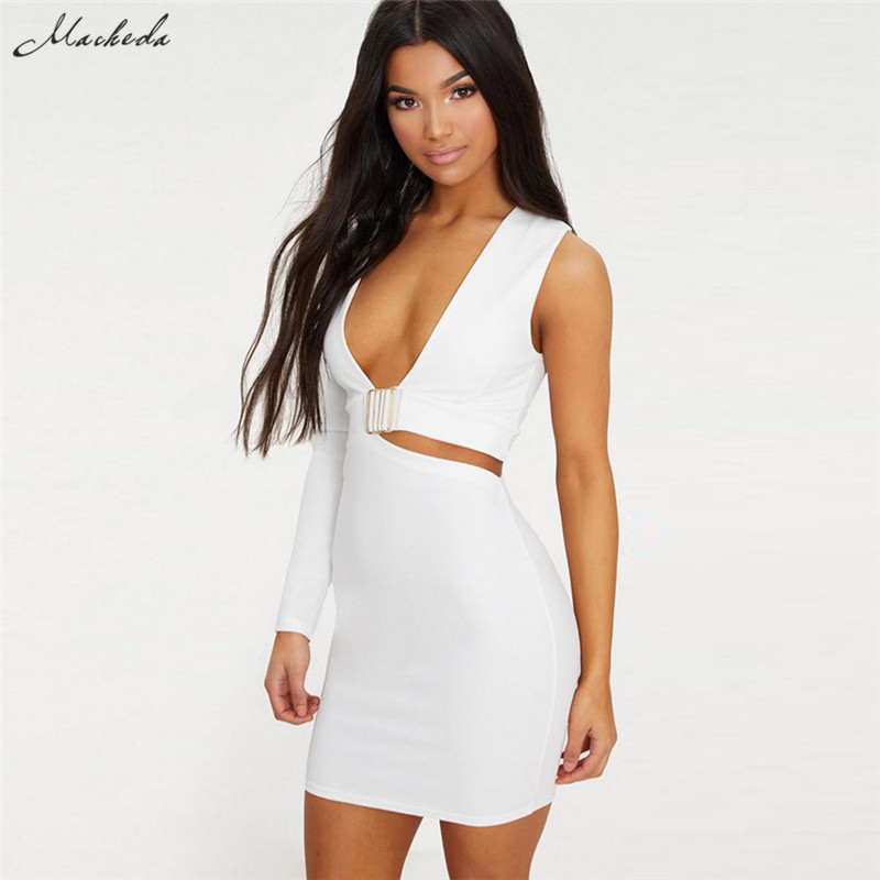 65c47ab7 Macheda Black White Cut Out Dress Women V Neck One Side Long Sleeve High  Waist Sexy Dress 2018 Summer Short Bodycon Dress-in Dresses from Women's  Clothing ...