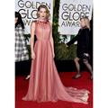 Amber Heard Celebrity Dresses 73rd Golden Globe Awards Burgundy and Champagne Chiffon Draped Formal Red Carpet Dresses