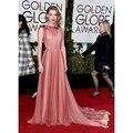 Amber Heard celebridade vestidos 73rd Golden Globe Awards borgonha e Champagne Chiffon drapeado formais vestidos no tapete vermelho
