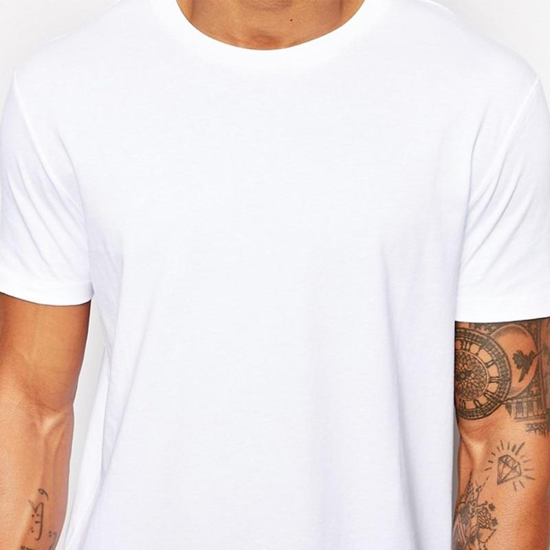 Новая брендовая одежда Мужская s Черная Мужская s длинная футболка топы хип хоп мужская футболка с коротким рукавом Повседневная мужская футболка для мужчин - Цвет: White T shirt