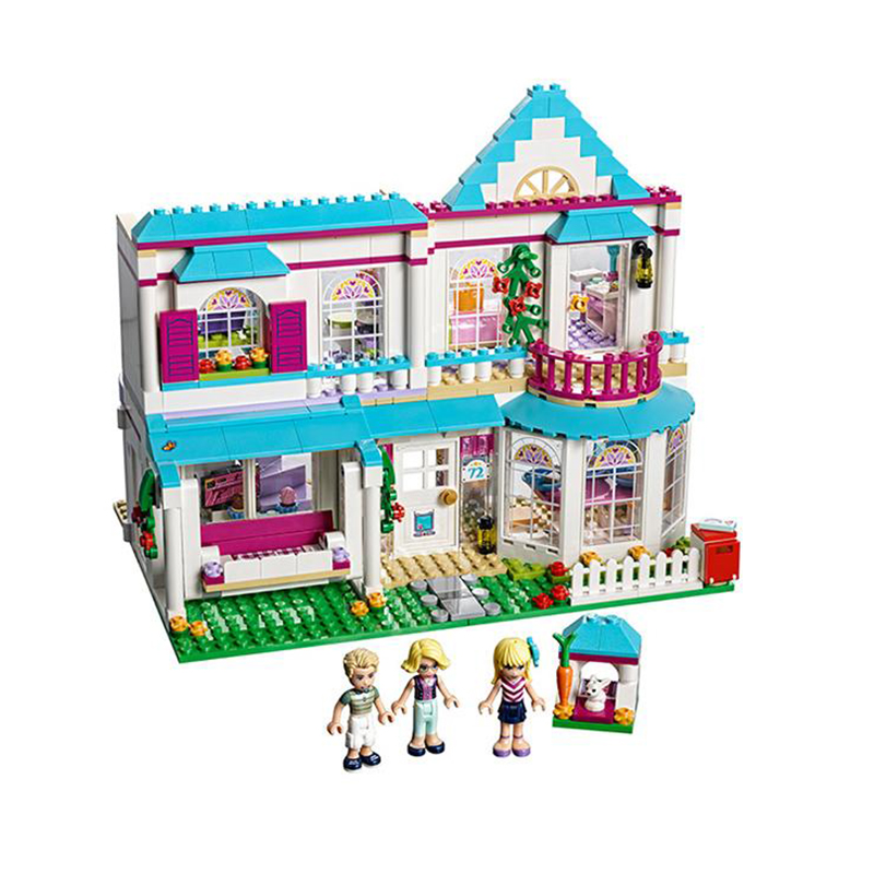 Diy Bricks Genuine Good Friend Girl Series The Stephanie's House Set Building Blocks Compatible With Legoingly Toys For Children 32 32 dots plastic bricks the island straight crossroad curve green meadow road plate building blocks parts bricks toys diy