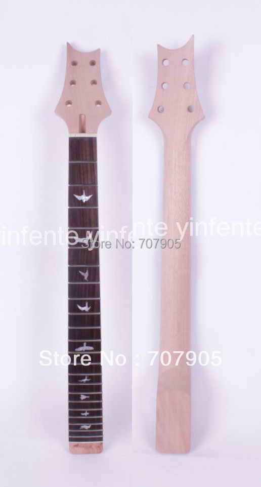 New electric guitar neck bird Inlaid Mahogany Rosewood 22 fret 24.75 Unfinished Free shipping High quality 1 pcs new electric guitar neck rosewood fretboard truss rod 22 fret 25 5 unfinished free shipping