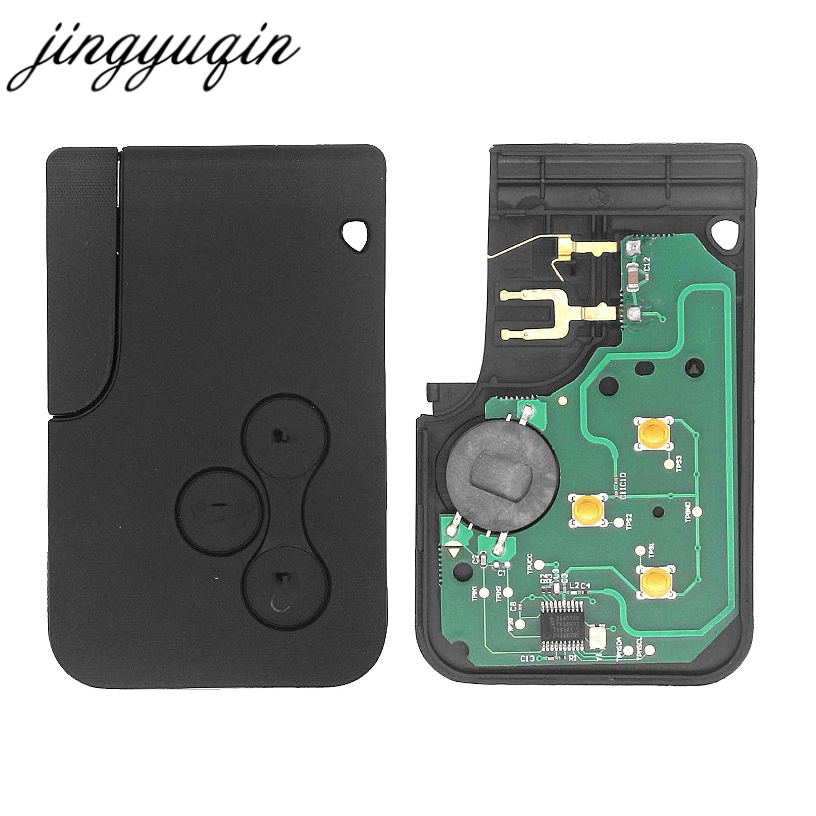 Jingyuqin Smart Schlüssel Karte für Renault Megane II Scenic II Grand Scenic 2003-2008 433 mhz PCF7947 Chip ID46 3 taste Remote PCB