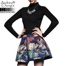 2014 sonbahar kış tasarımcı hanım elbiseleri gri siyah örme üst kırmızı sarı mavi soyut desen baskı moda marka elbise