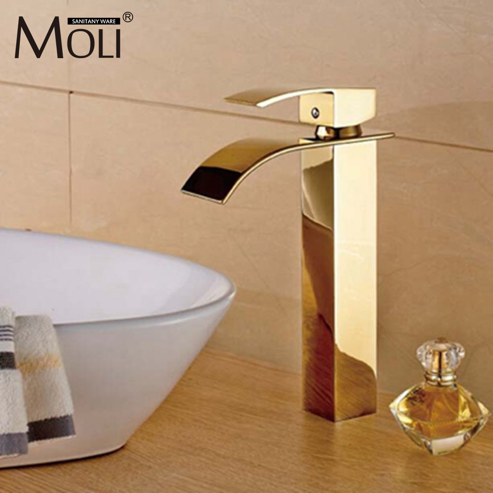 Gold bathroom faucets tall basin sink water tap square bathroom mixersGold bathroom faucets tall basin sink water tap square bathroom mixers