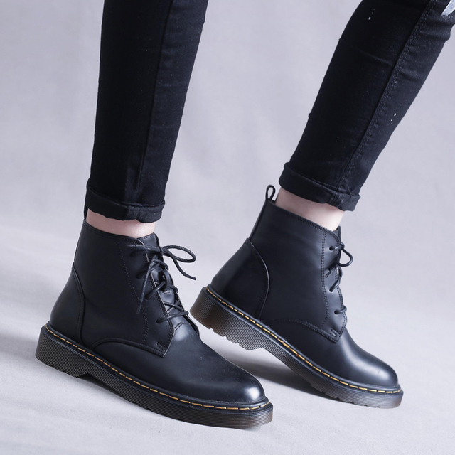 Womens Low Heel Lace up Round Toe Ankle Martin Boots