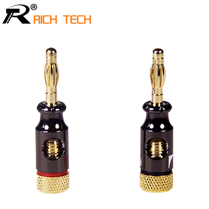 Gold Stereo Speaker 2pcs Audio Copper Electronic Connector 4mm Male Banana Plug od 10mm microphone plug audio connector 3 5mm stereo male plug assembly black plated speaker plug black
