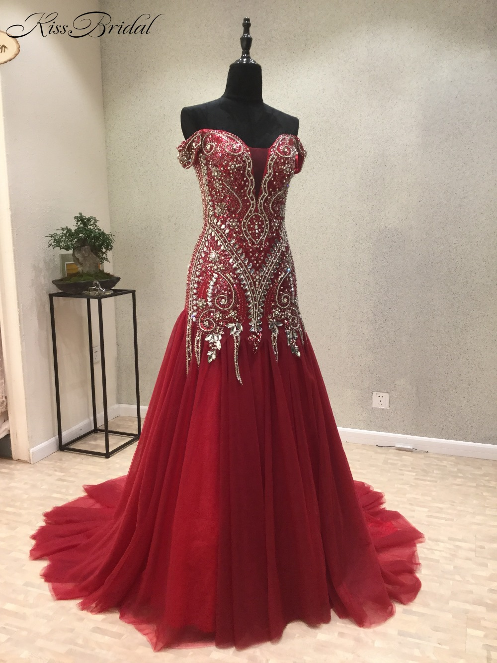 New Elegant Long Red   Evening     Dresses   2018Off-the-Shoulder Beading Tulle Prom   Dress   Women Party Gown