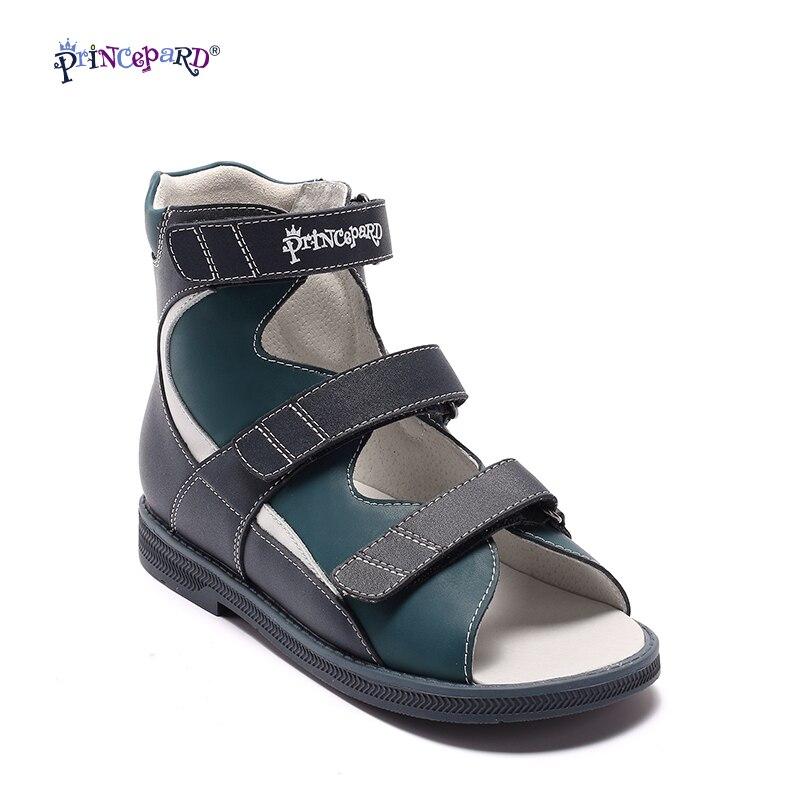 Princepard Véritable En Cuir Garçons Orthopédique Chaussures d'été marine Enfants Sandales Enfant Bébé Sandales bébé enfants garçons chaussures Taille 21- 36