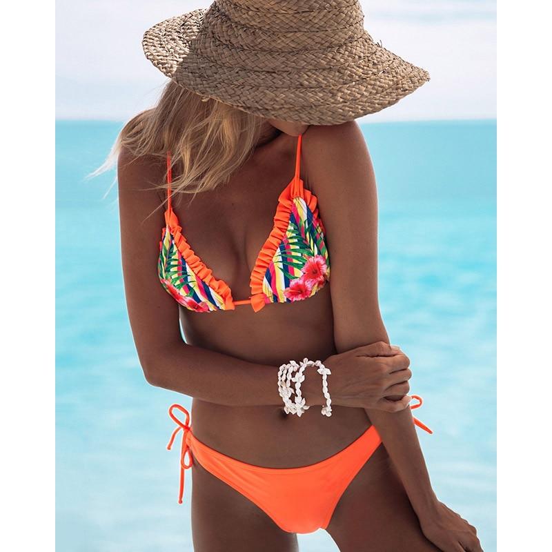 2019 New Ruffle Bikinis Women Swimsuit Cross Bandage Swimwear Push Up Bikini Set Beach Bathing Suit Brazilian Biquni Print 1