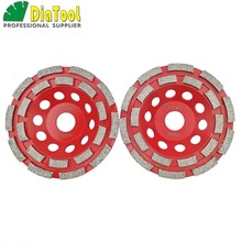 цена на 2pcs 5/125mm Diamond double row Grinding Cup Wheel for granite and hard material, bore 22.23mm with 16mm washer