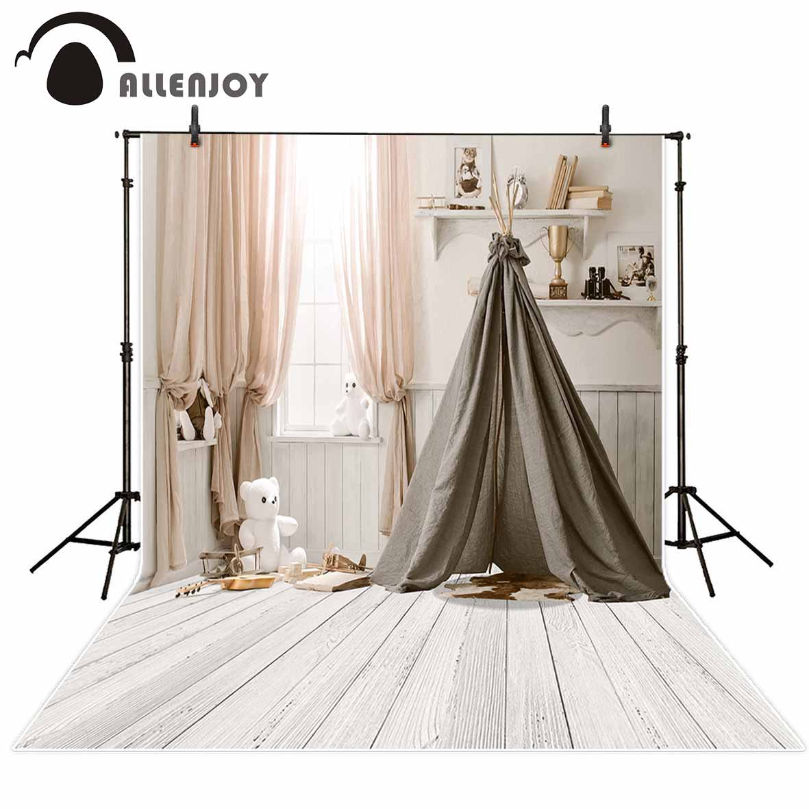 Allenjoy baby tent white wood floor backdrop board indoor room curtain lovely baby shower photography background photo studio photography background baby shower step and repeat allenjoy backdrop custom made any size any style