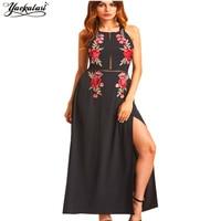 Backless Dress Summer Dress Women Sexy Embroidery Halter Boho Hippie Chic People Vestidos Robe LongueFemme