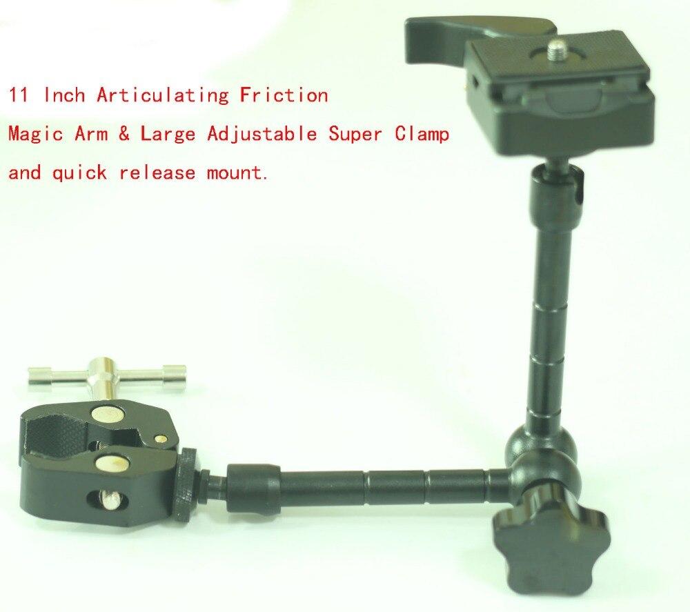 11 Inch Magic Arm & Large Adjustable Super Rod Clamp & QR set Fr Manfrotto 244RC